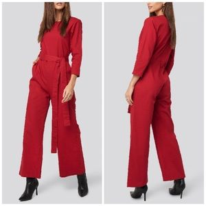 NEW NA-KD Belted Waist Detail Long Sleeve Jumpsuit